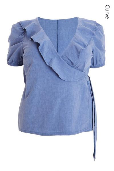 Curve Blue Chambray Wrap Top
